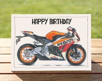 "Motorcycle Birthday Card | Honda CBR 1000 Fireblade | A6 - 6"" x 4"" / 103mm x 147mm 