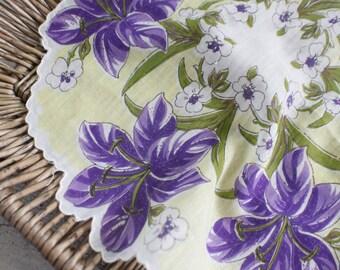 purple, yellow, Hankie set, handkerchief, Wedding gift, wedding decor,  bridal, bridesmaid gift, wedding accessory, lady like, something old