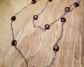 "20"" Station necklace Garnet necklace Sterling Silver January birthstone Mothers day gift Bridesmaid gift"