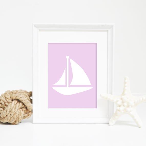 Lavender Sailboat Print, Sail Boat Wall Print, Nautical Decor, Coastal Prints, Purple Art, Nautical Print, Printable Wall Art, Nursery Decor
