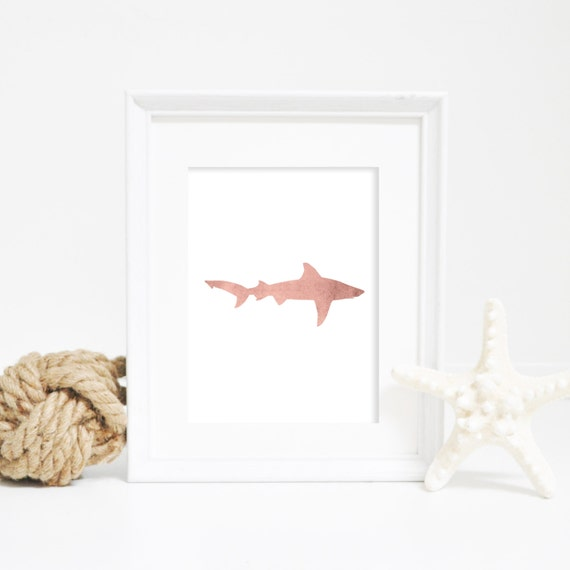Shark Wall Art, Shark Artwork, Great White Shark, Nautical Artwork, Nautical Decor, Shark Print, Beach Print, Beach Artwork, Rose Art Print