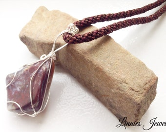 Wire wrap brown gemstone with kumihimo necklace