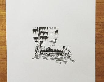 Woodcut Louisiana Print