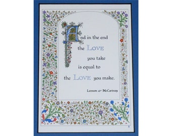 """Beatles lyric """"And in the End"""" Lennon McCartney, Abbey Road, print with gold highlights"""