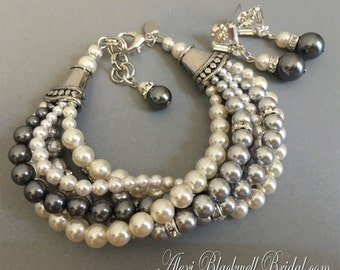 Grey Pearl Bracelet Earrings Set with 5 multi strands Swarovski pearls twisted perfect Mother if the Bride Jewelry