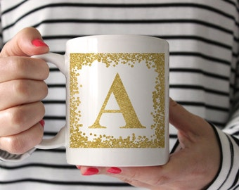 26 Gold Glitter Frames Alphabet Monogram Sublimation Mug Templates A-Z