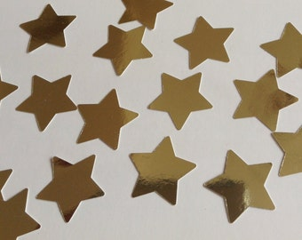 Gold star confetti, star punches,  gold shiny star, wedding confetti, party decor, die cut, set of 40