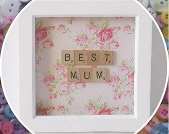 Handmade 'Best Mum' Mother's Day Scrabble Frame