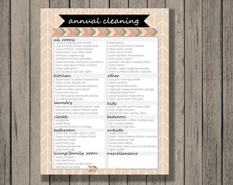 Spring cleaning checklist printable, Annual cleaning checklist, categorized by room, instant download. Tribal design. Cleaning schedule.