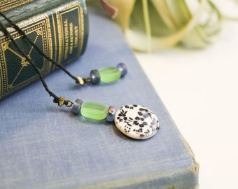Beaded bookmark with blue and green beads