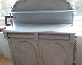Antique Victorian painted sideboard french style chiffonier silvery blue tones