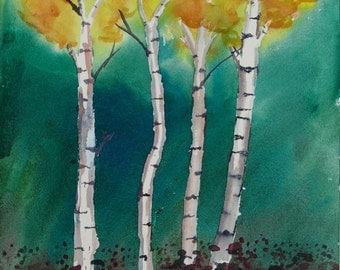 "Original Watercolor Painting, Four Aspen Trees, 9"" x 12"""