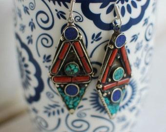Tribal Tibetan Earrings,Lapis-Coral-Turquoise Earrings,Statement Earrings,Ethnic Jewelry,Boho Earrings