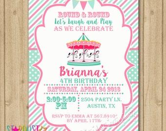 Carnival Birthday Invitation, Carnival Invitation, Carousel Invitation, Carousel Birthday Invitation, Carnival Birthday
