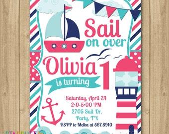 Nautical Girl Birthday Invitation, Sail Invitation, Boat Invitation, Anchor Invitation, Sailor Birthday Invitation, 1st Birthday