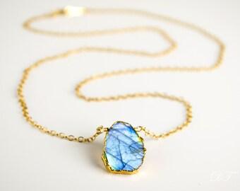Labradorite slice necklace, Gemstone necklace, layered necklace Labradorite Pendant Necklace Electropformed Slice Gold Necklace Boho Jewelry