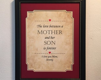gift for mom personalized framed print the love between a mother and her son is forever 12 x 15 birthday christmas mothers day
