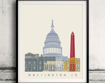 Washington DC skyline poster 8x10 in. to 12x16 in. Fine Art Print Glicee Poster Gift Illustration Artistic Colorful Landmarks - SKU 1134