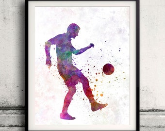 Man soccer football player 04 - 8x10 in.to 12x16 in. poster watercolor wall art splatter sport illustration print Glicée artistic - SKU 1301
