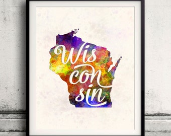 Wisconsin - Map in watercolor - Fine Art Print Glicee Poster Decor Home Gift Illustration Wall Art USA Colorful - SKU 1735