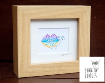 Mini Sprinkle Lips Framed original pencil drawing 1 inch!