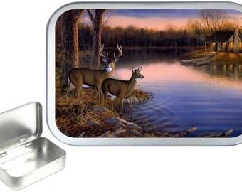 Deer Lodge 1oz silver hinged tobacco tin,pill box,storage tin