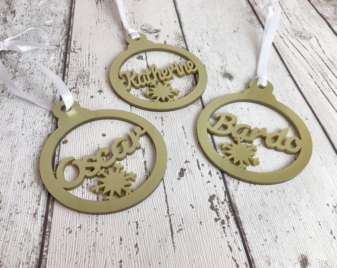 Personalised christmas bauble decoration.