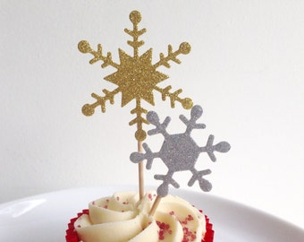 Christmas Snowflake Cupcake toppers Glitter Gold and Silver