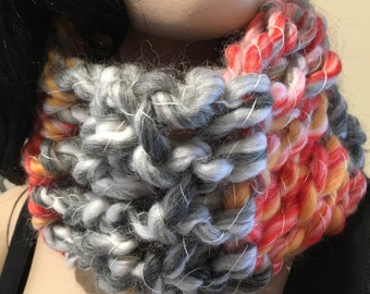 Chunky crochet cowl orange and grey OOAK