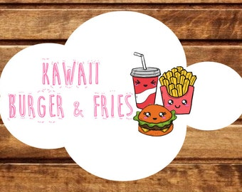 30 Kawaii Burguer and Fries, fast food stickers