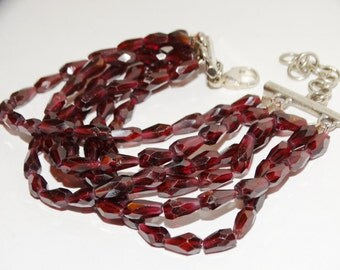 Vintage Sterling 38 grams Faceted Garnet heavy Bracelet.