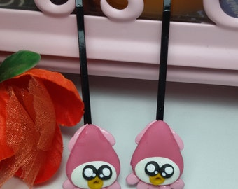 Squid hiar pin, pink hair pin, hair pin clay, jewelry hair pin, fancy clay