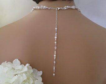 Back drop wedding necklace, Gold accented back drop necklace, Swarovski crystal and pearl bridal necklace, Double strand wedding necklace