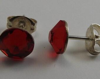 Swarovski Crystal Sterling Silver  Red Stud Earrings