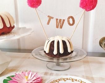 Pom Pom Birthday Banner Cake Topper - Cupake Decoration