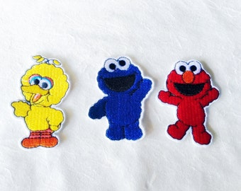 Sesame Street Characters Iron on Patch(M) - Elmo, Cookie Monster, Big Bird Applique Embroidered Iron on Patch