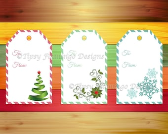 Christmas Gift Tags, Holiday Tags, Gift Tags, Festive, Gifts, Printables, Wreath, Tree, Snow Flakes – Instant Download - TFD418