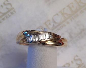 Men's vintage 14k yg 7 Baguette Diamond Twist Wedding Band .40 tw, GH-VS2-SI1, size 12.5