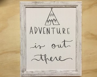 adventure is out there handmade wooden frame and 8x10 watercolor canvas