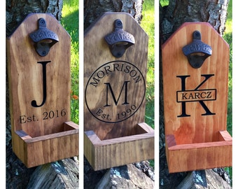 Personalized Beer Bottle Opener, Groomsmen Gift,  Rustic Engraved Beer Bottle Opener, Cap Catcher, Wedding, Gift Ideas, Man Cave