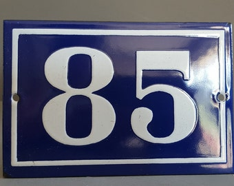 Old French enamel house number SIGN . Door street address gate PLATE PLAQUE Enamel steel metal 85 Blue