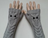 EXPRESS SHİPPİNG!Gray Owl Hand-Knitted Fingerless Gloves/Winter Accessories/ReyyanCrochet