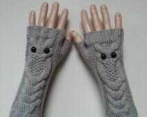 EXPRESS SHİPPİNG!Gray Owl Hand-Knitted Fingerless Gloves/Winter Accessories/ReyyanCrochet