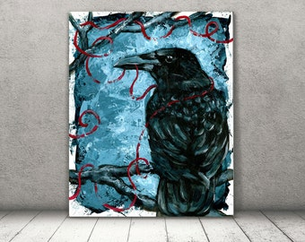 Crow Art - Crow Canvas - Raven Art - Blue Home Decor - Rustic Home Decor - Morbid Art - Crow Wall Art - Crow Gift Idea - Office Decor