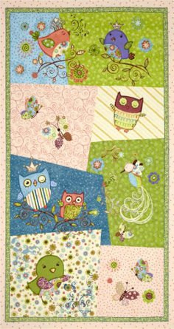 Nighty Night Owl Baby Quilt Fabric Panel By Viv Eisner For