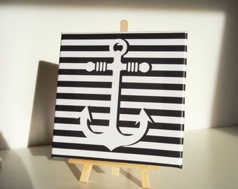 Table stretched canvas striped anchor - Canvas painting striped anchor