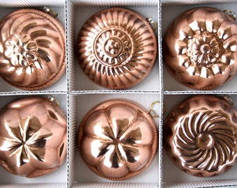 Set 6 copper Moulds for sweets and foods