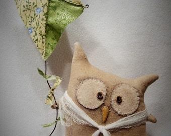 OoaK Primitive Folk Art * Sweet Little Owl Shelf Sitter with Kite * POPPYWISE * HAGUILD