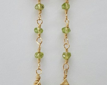 Gold Filled Faceted Natural Peridot Earrings