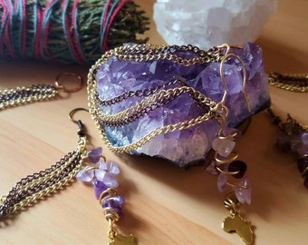 Amethyst and Africa Nose to Ear Chain